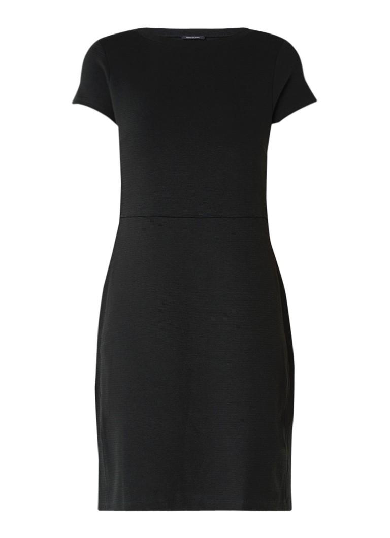 Marc O'Polo Fijngebreide midi-jurk van katoen donkergroen