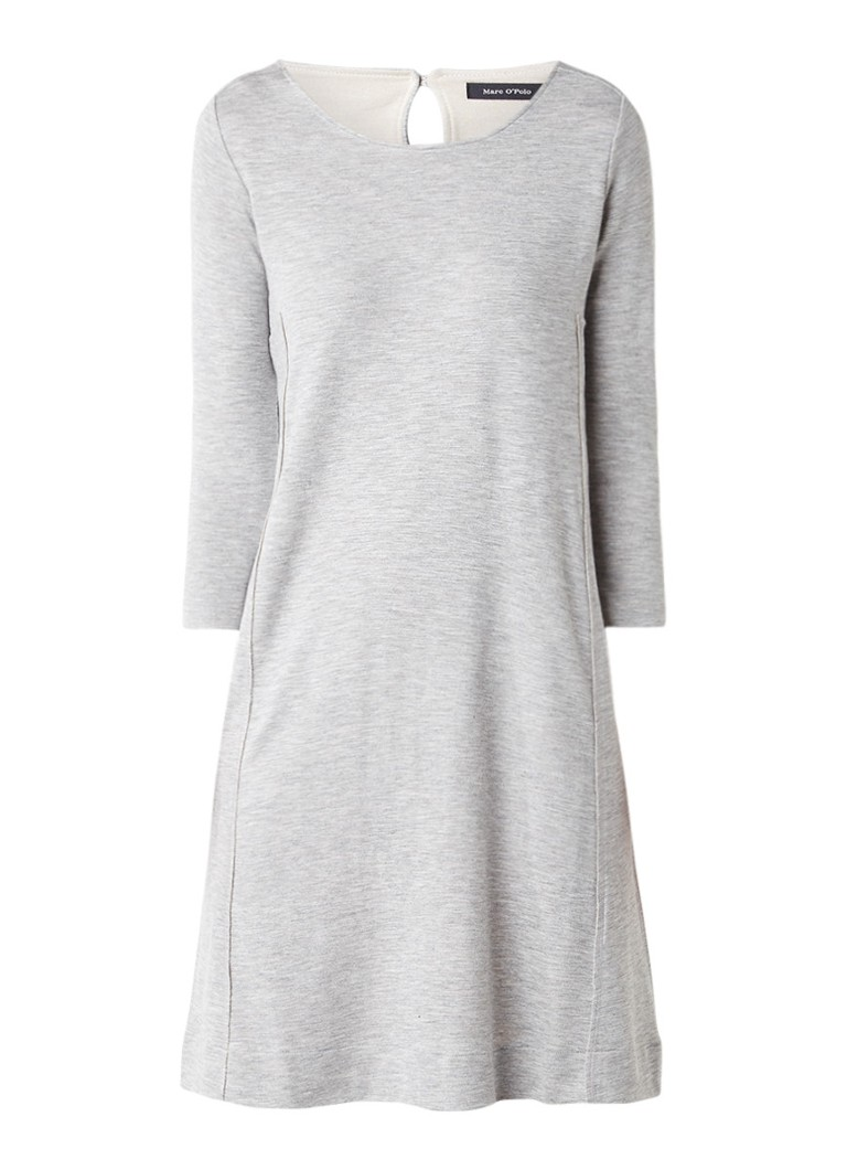 Marc O'Polo Gemêleerd midi-jurk met deelnaad grijsmele