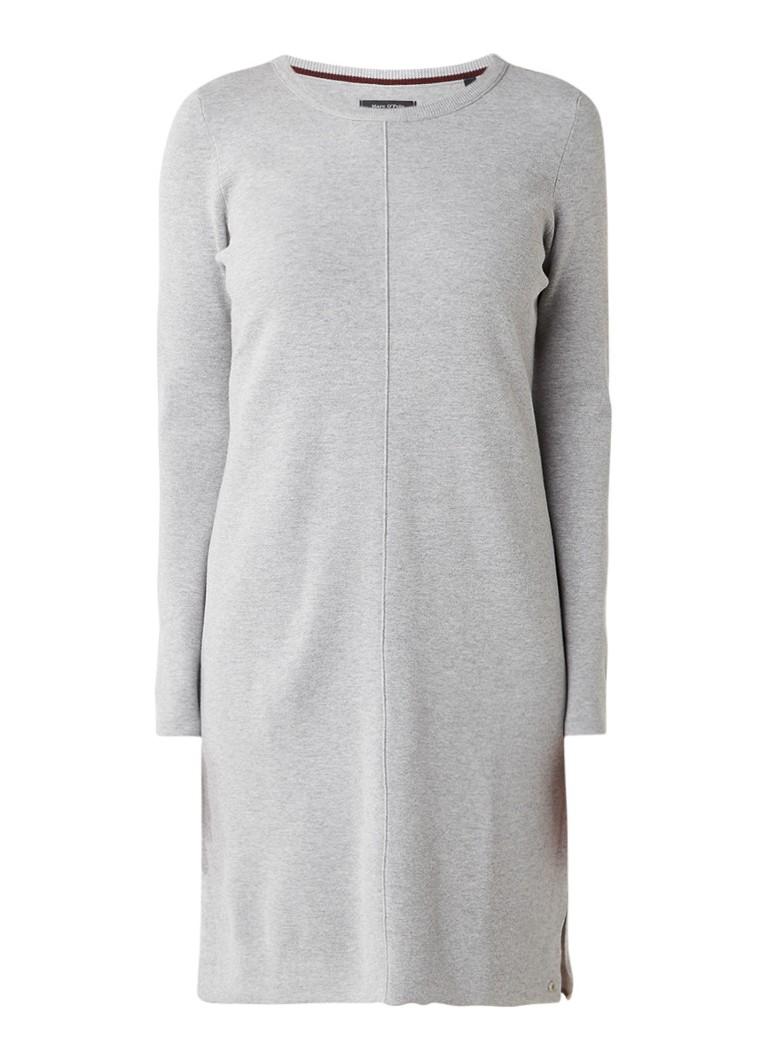Marc O'Polo Fijngebreide midi-jurk met deelnaad en split grijsmele