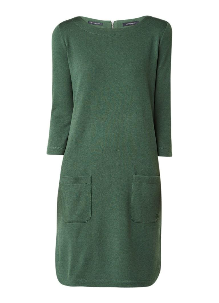 Marc O'Polo Fijngebreide midi-jurk met opgestikte zakken mosgroen
