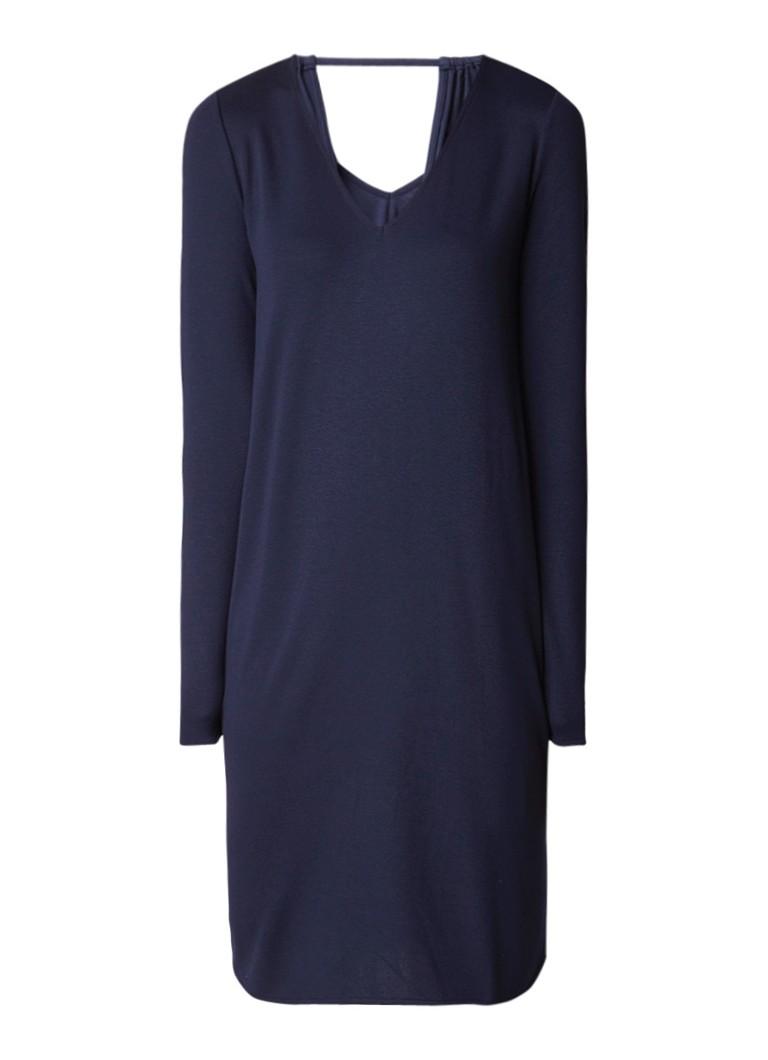 Marc O'Polo Jersey jurk met opengewerkt detail donkerblauw