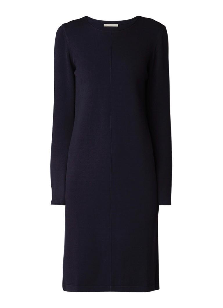 Marc O'Polo Fijngebreide jurk met deelnaad donkerblauw