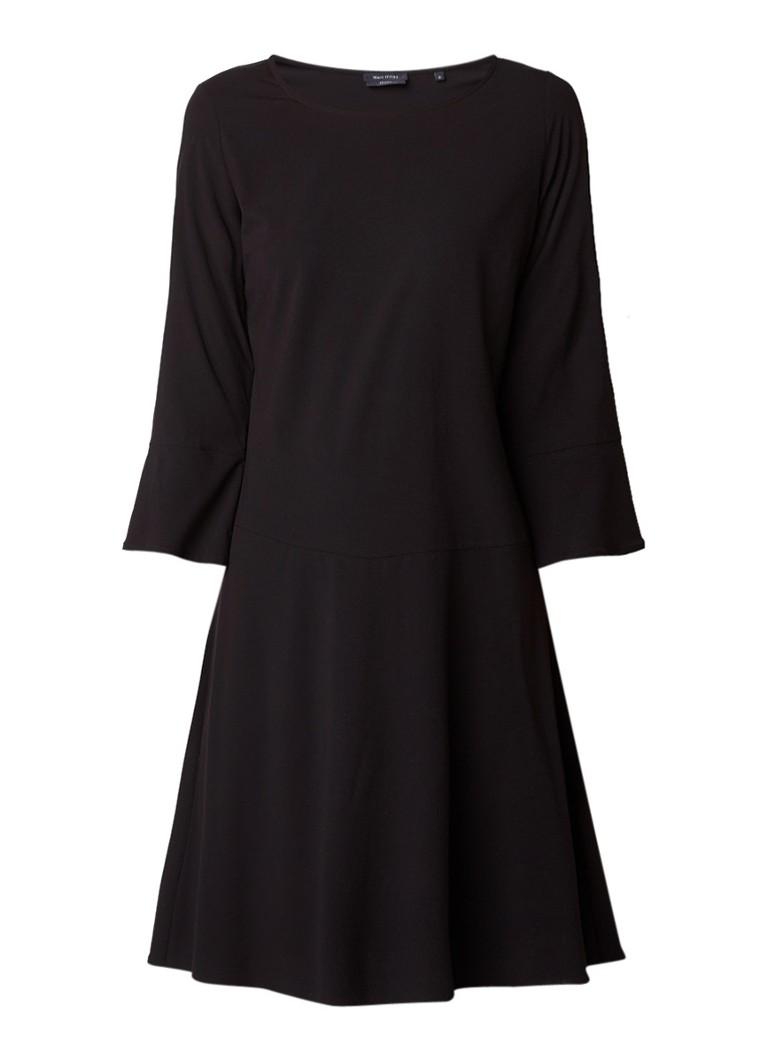 Marc O'Polo A-lijn jurk met stretch en flared mouw zwart