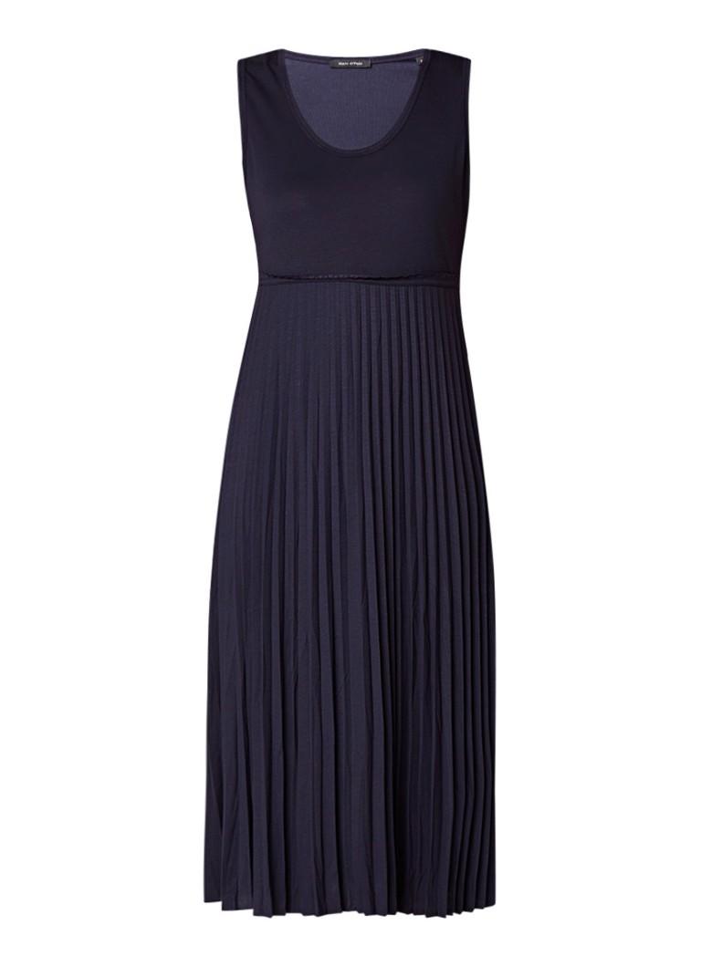 Marc O'Polo Midi-jurk van jersey met plissérok donkerblauw
