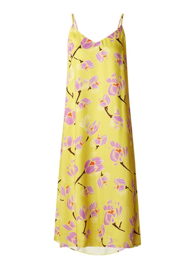 Marc O'Polo Mouwloze jurk in zijdeblend met bloemendessin maisgeel