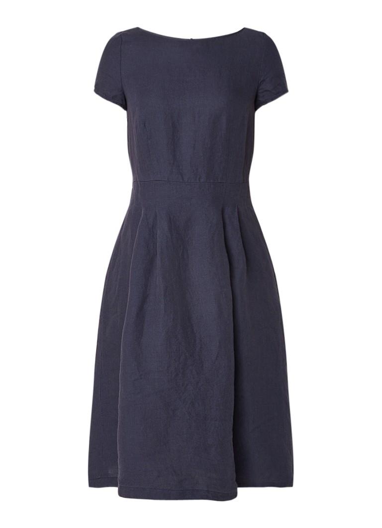 Marc O'Polo A-lijn jurk van linnen royalblauw