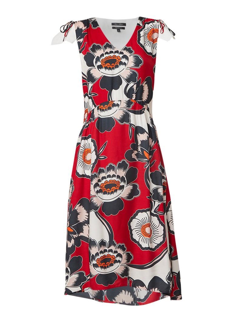 Marc O'Polo A-lijn jurk in zijdeblend met bloemendessin rood