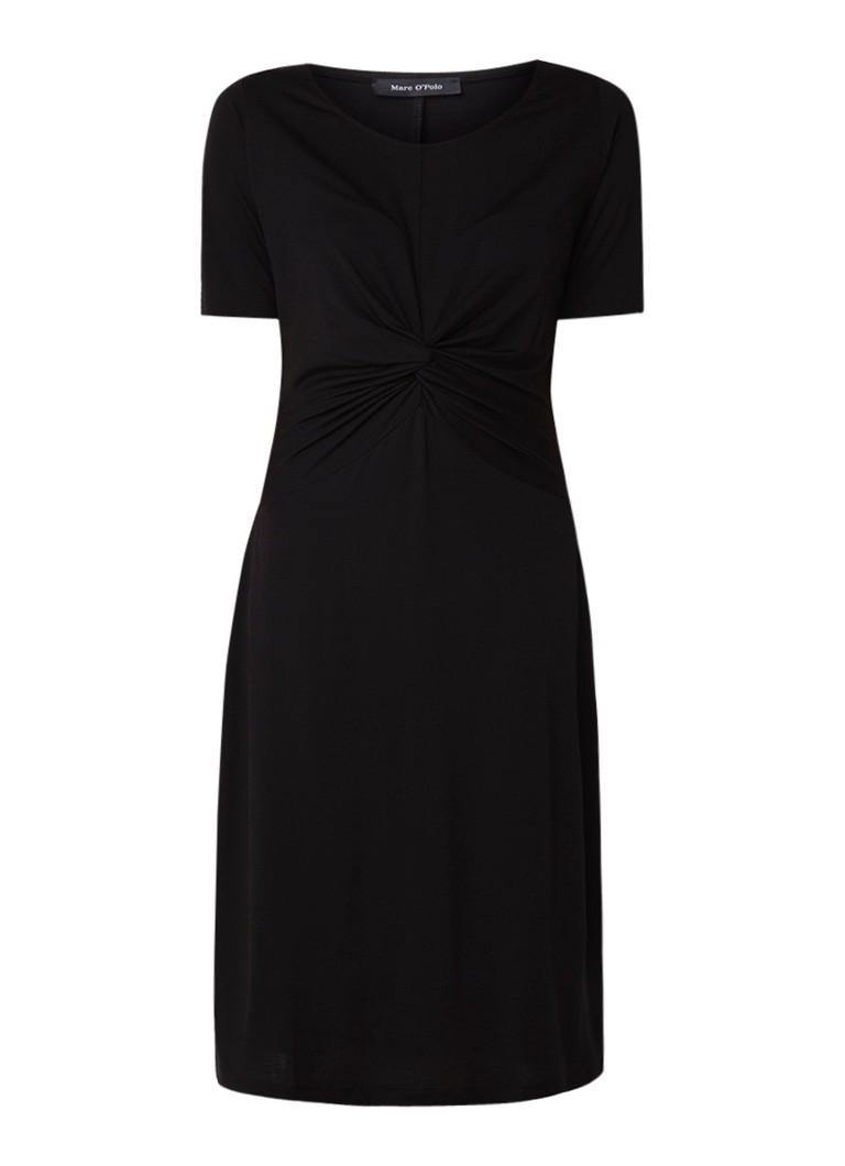 Marc O'Polo Midi-jurk van jersey met geknoopt detail zwart