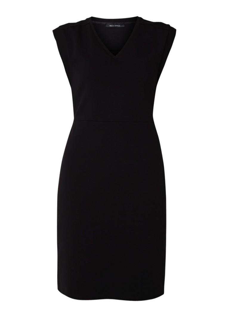 Marc O'Polo Midi-jurk van jersey met deelnaad en V-hals zwart
