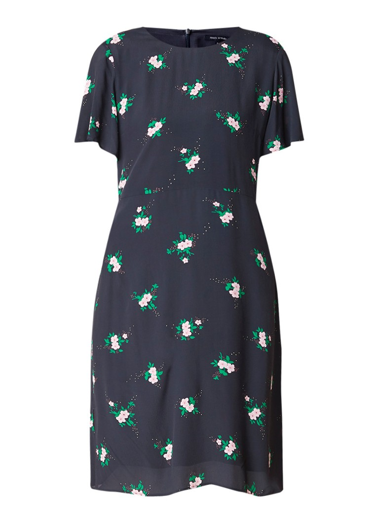 Marc O'Polo Loose fit midi-jurk met bloemendessin antraciet