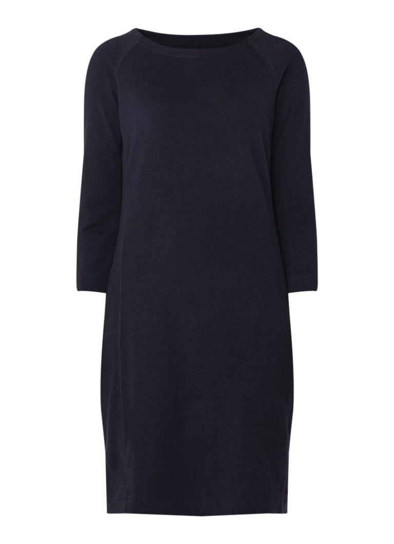Marc O'Polo Loose fit midi-jurk van jersey met driekwartmouw donkerblauw