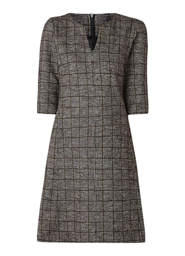 Marc O'Polo Midi A-lijn jurk in wolblend met ruitdessin grijs