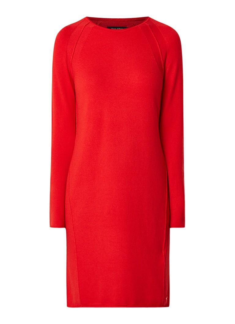 Marc O'Polo Fijngebreide midi-jurk in wol kasjmierblend rood