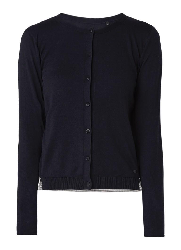 Marc O'Polo Fijngebreid vest met contrastbies kopen
