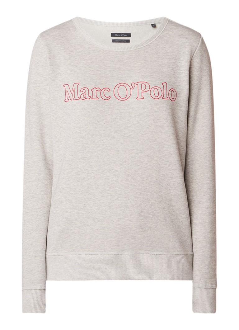 Marc O'Polo Sweater van biologisch katoen met logoprint