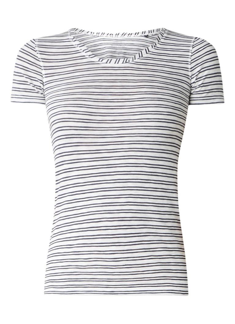 Marc O'Polo T-shirt met gedraaide halslijn en streepdessin