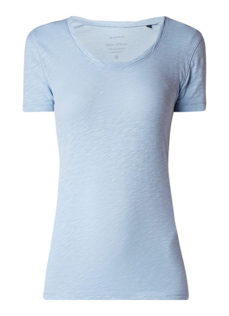 Marc O'Polo Slub T-shirt met gedraaide halslijn