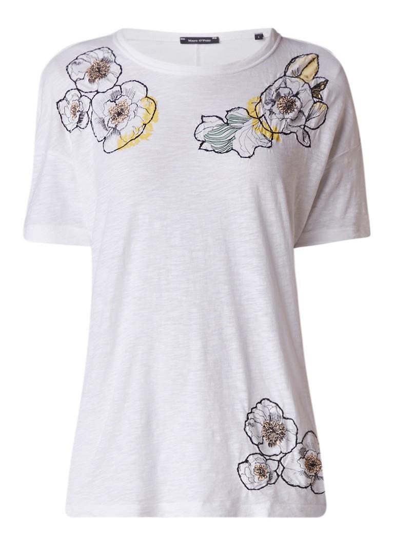 Marc O'Polo Slub T-shirt met bloemen