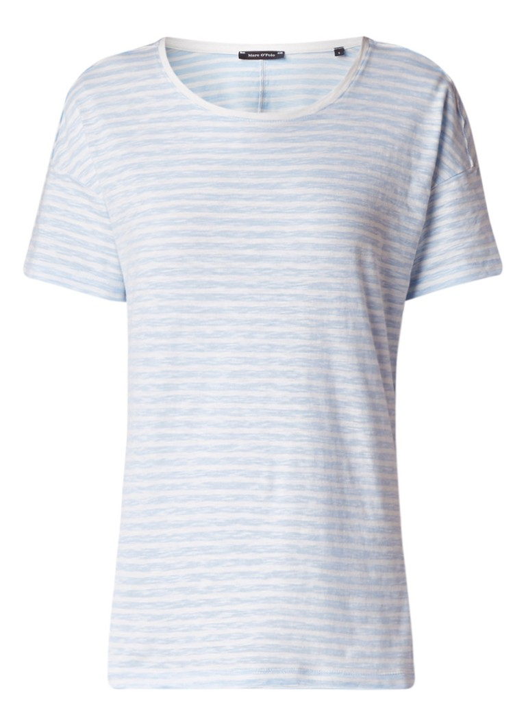 Marc O'Polo T-shirt van slubkatoen met streepdessin
