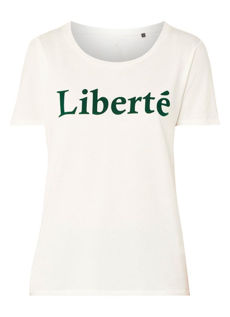 Marc O'Polo Liberte T-shirt van katoen met tekstopdruk