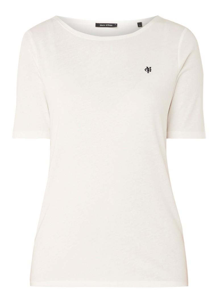 Marc O'Polo T-shirt van katoen met logoborduring