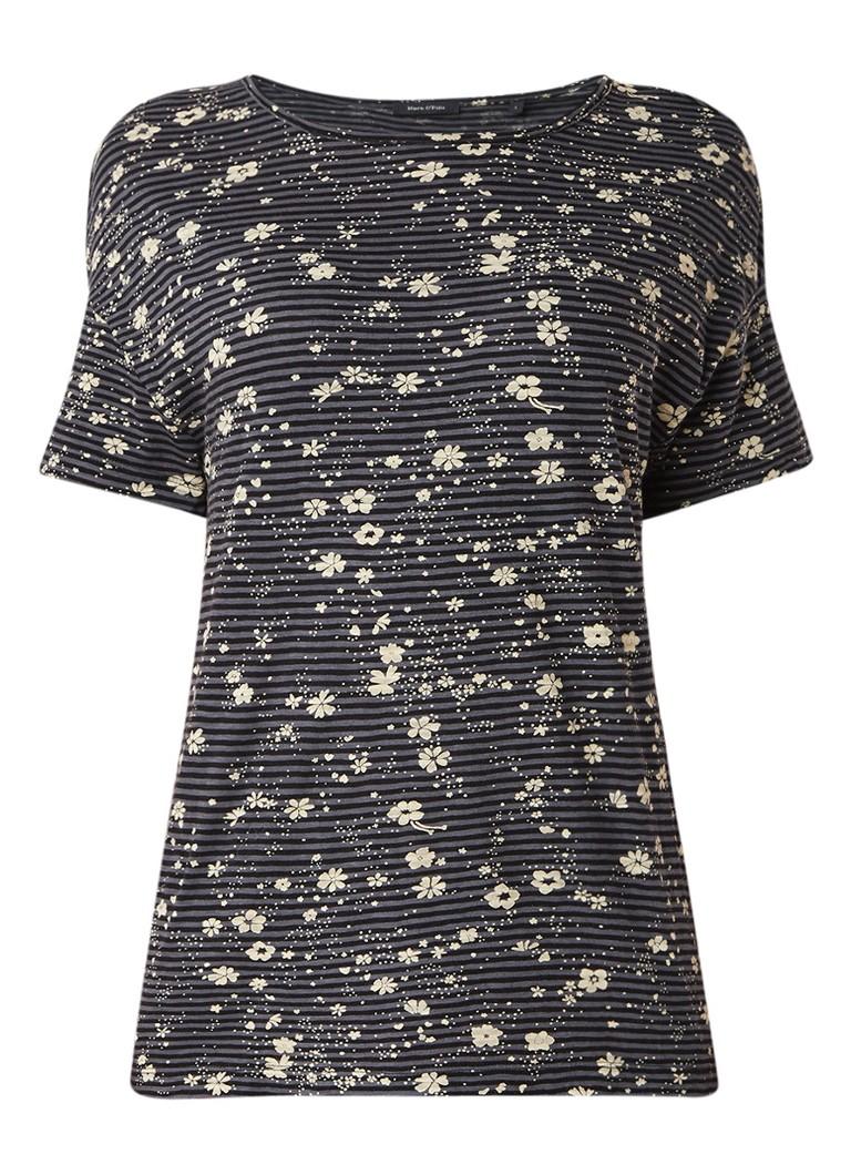 Marc O'Polo T-shirt met streep- en bloemendessin