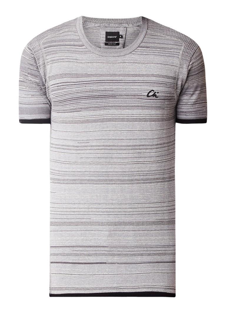 Chasin Calera T-shirt met ingebreid streepdessin en logoborduring