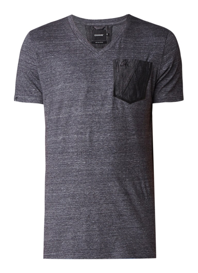 Chasin Today Plus T-shirt met denim borstzak