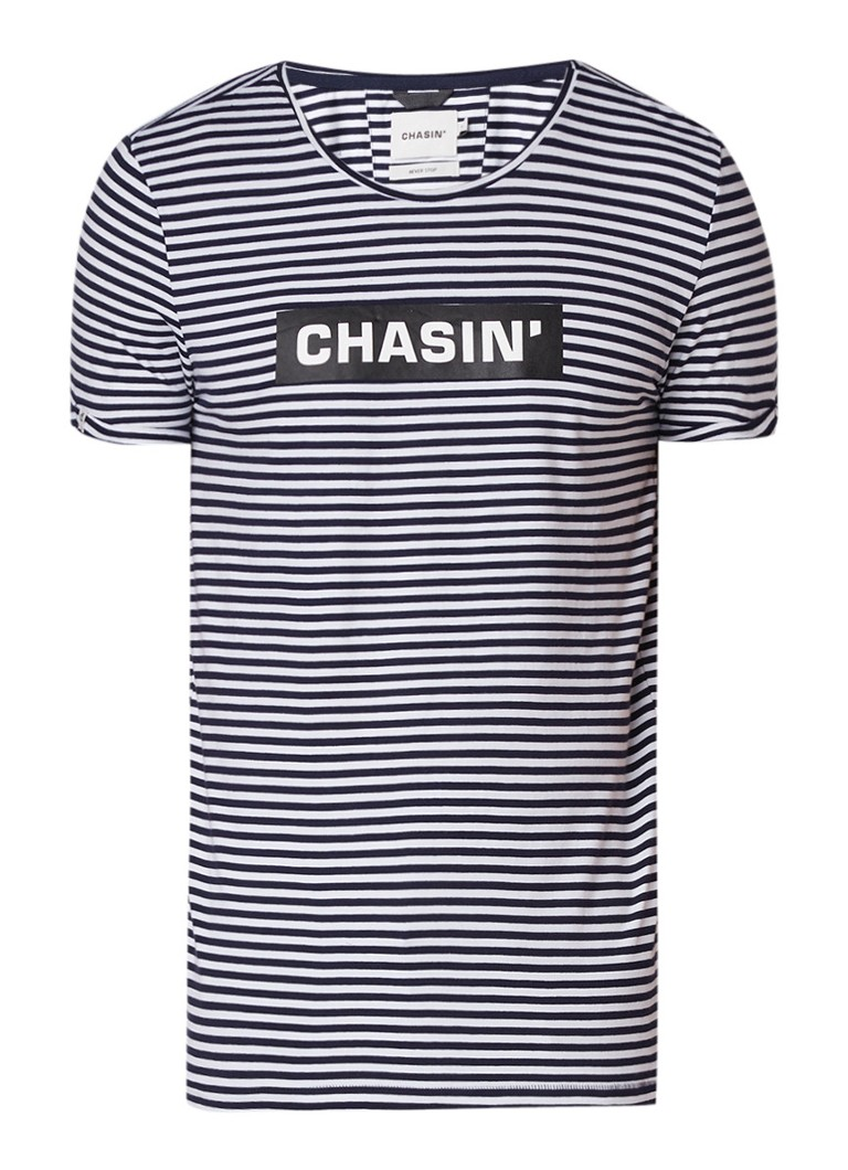Chasin Shore Box T-shirt met streepdessin en logoprint
