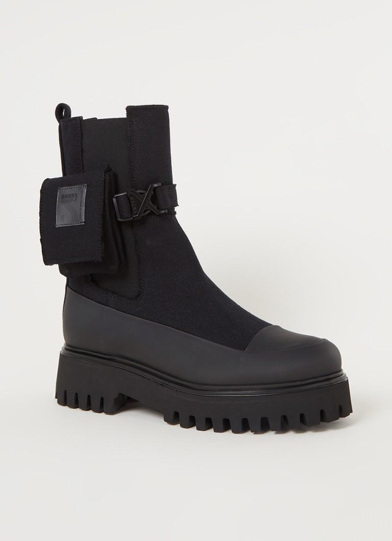 Bronx Groov-y Chelsea Canvas hoge chelsea boots zwart online kopen