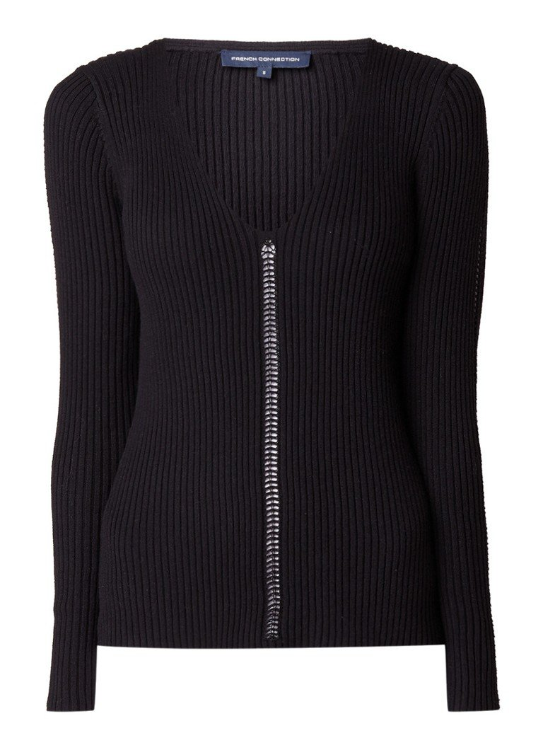 French Connection Lois Mozart pullover met opengewerkte details