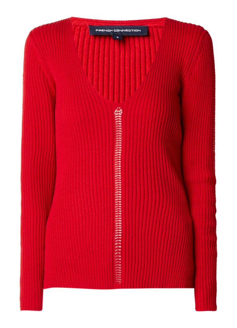 French Connection Lois Mozart ribgebreide pullover met opengewerkte lijnen