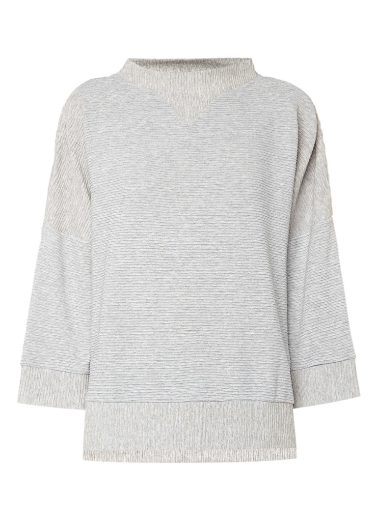 French Connection Oversized pullover met ribstructuur grijs
