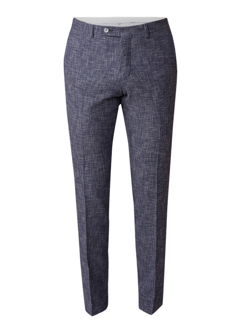 Van Gils Clay slim fit pantalon in gemêleerde wolblend
