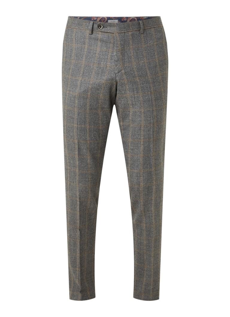 Van Gils Bailey slim fit pantalon in wol met ruitdessin