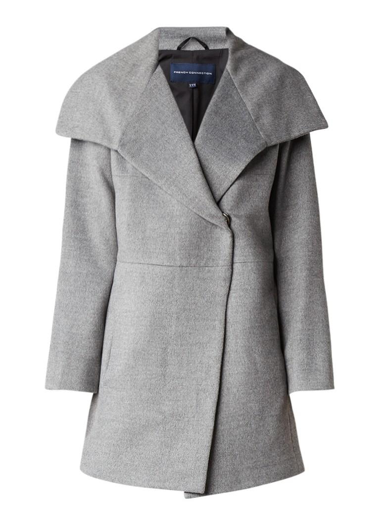 French Connection Bennie gemêleerde mantel van wol met steekzakken