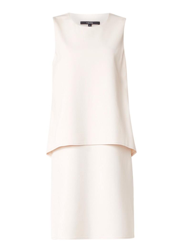 Someday Qine mouwloze jurk met overlay naturel
