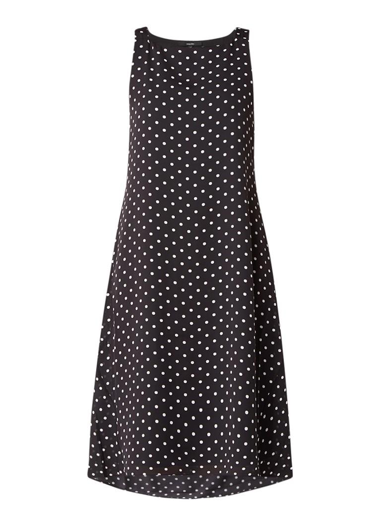 Someday Quanita mouwloze jurk met stippendessin zwart