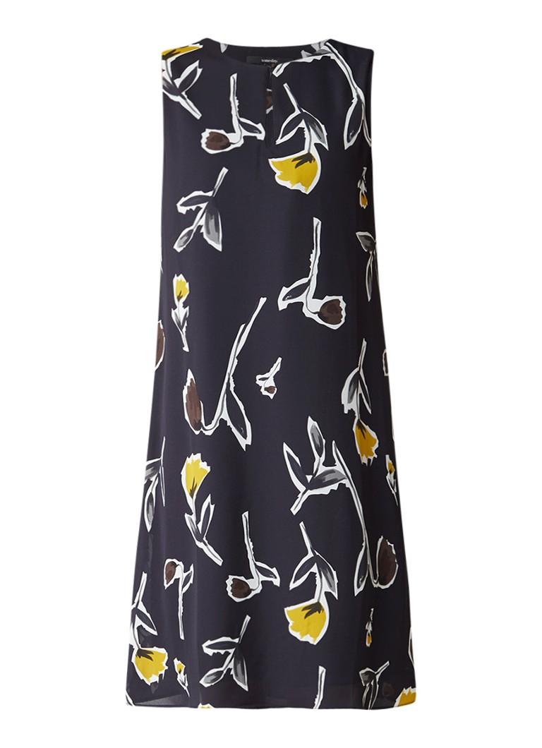 Someday Quiss mouwloze jurk met bloemendessin donkerblauw