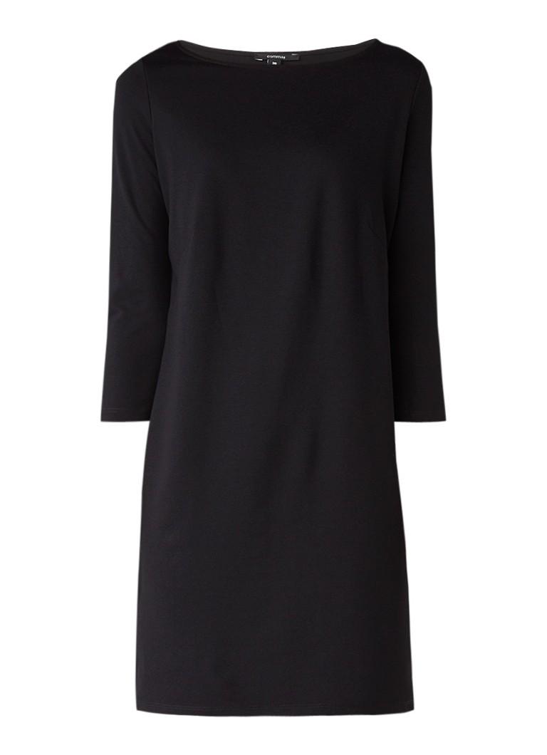 Comma Shift jurk met driekwartsmouw zwart