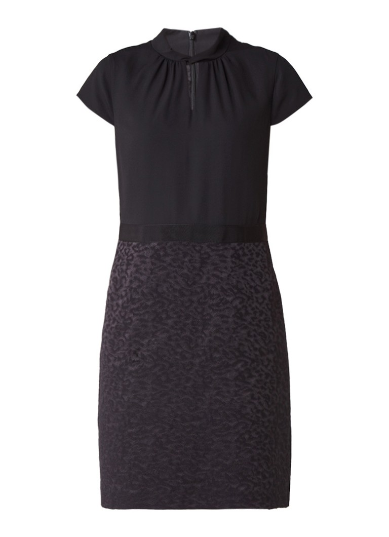 Comma Mini-jurk met ingeweven luipaarddessin en keyhole zwart