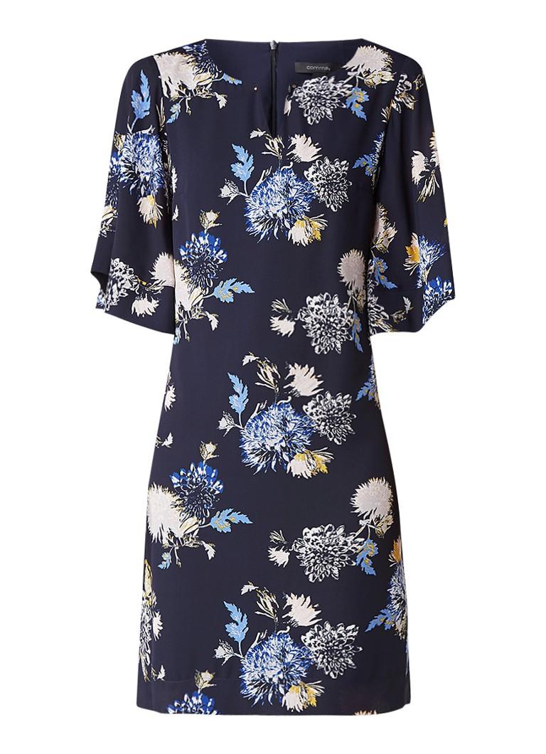 Comma Midi jurk met klokkende mouwen en bloemendessin donkerblauw