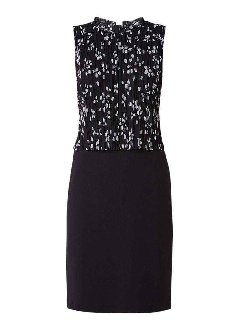Comma Midi-jurk met geplisseerde overlay van mesh zwart