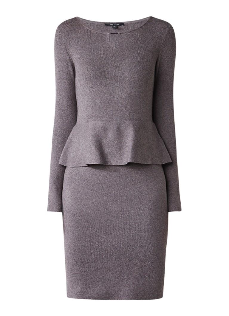 Comma Fijngebreide midi-jurk met peplum taupe
