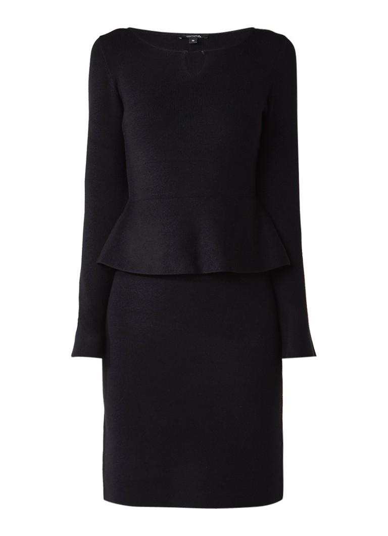 Comma Fijngebreide midi-jurk met peplum zwart