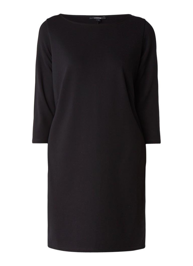 Comma Ros jersey shiftjurk met driekwartsmouw zwart