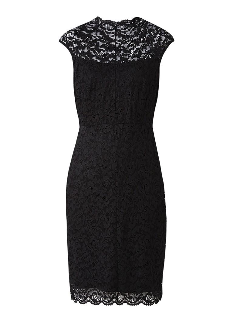 Comma Midi-jurk van gebloemd kant zwart