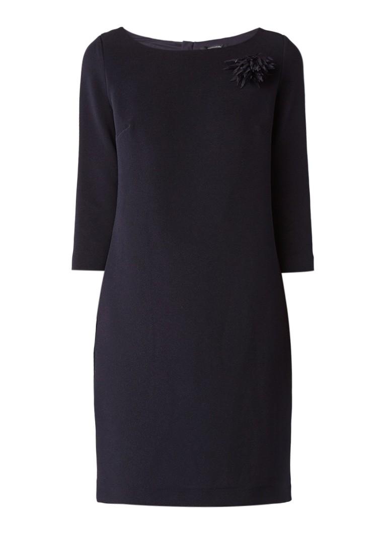 Comma Midi-jurk met driekwartsmouw en broche donkerblauw
