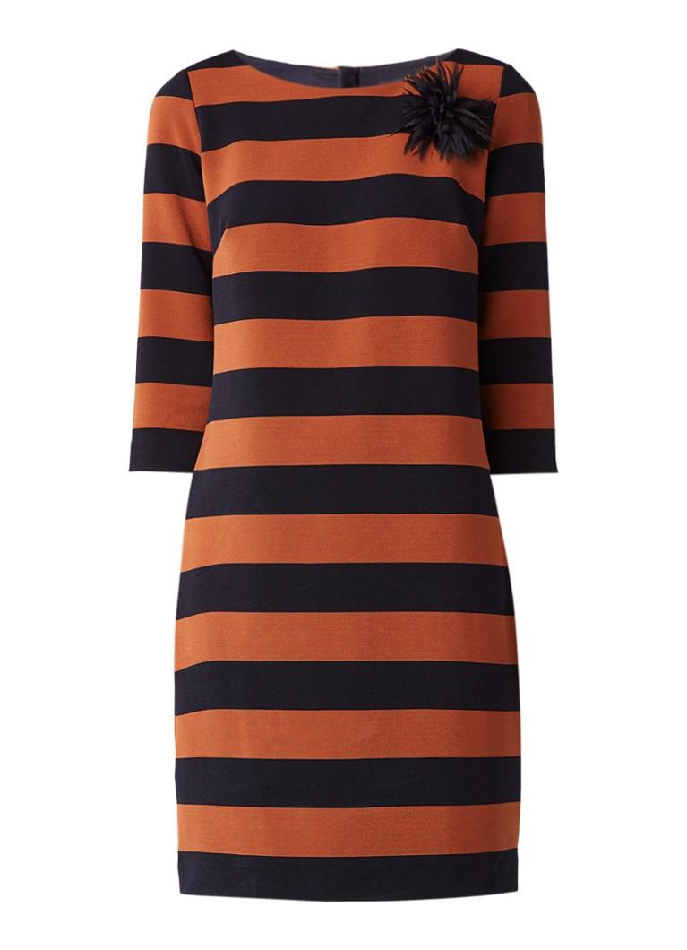 Comma Midi-jurk met driekwartsmouw en broche cognac
