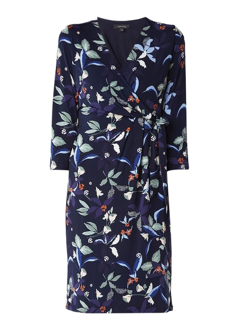 Comma Wikkeljurk met strikceintuur en bloemenprint donkerblauw